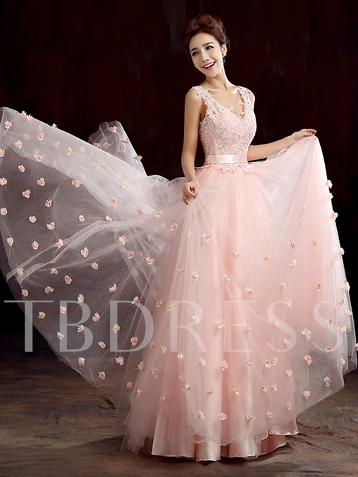 A-Line Sashes V-Neck Appliques Beadings Floor-Length Evening Dress