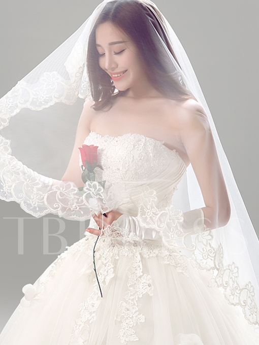 Empire Floor-Length Ball Gown Strapless Tulle Lace Wedding Dress
