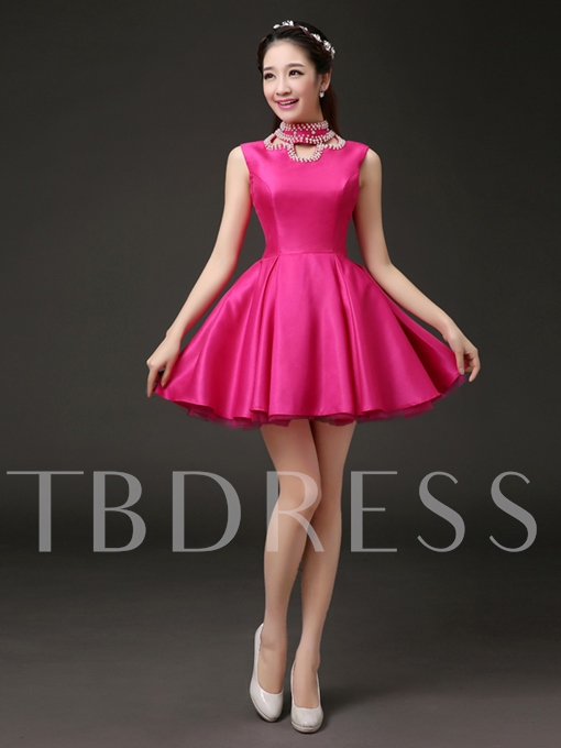 High Neck A-line Beadings Pearls Mini Cocktail Dress