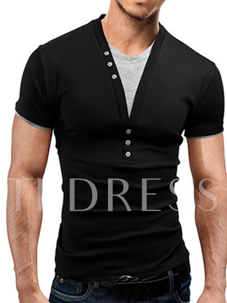 V-neck Patchwork Buttons Decorated Men's T-shirt