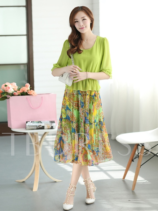 Half Chiffon Print Women's Day Dress (Plus Size Available)