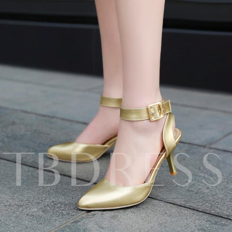 Buckle Ankle Strap Pointed Toe Stiletto Heel Women's Sandals