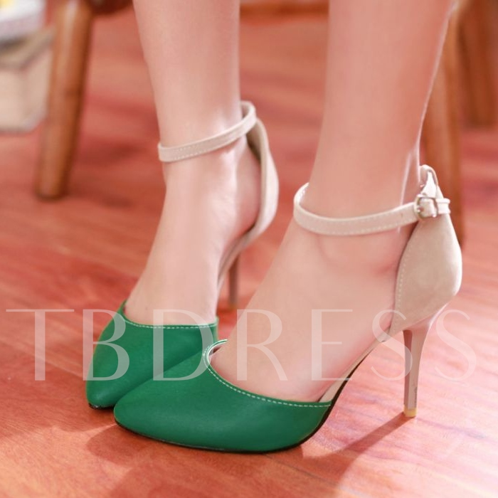 Contrast Color Closed Toe Women's Pumps