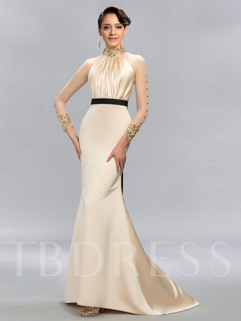 High Neck Beading Mermaid Evening Dress