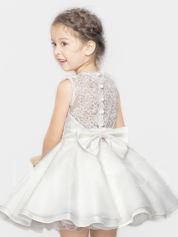 Sheer Back Lace Bowknot Short Flower Girl Dress