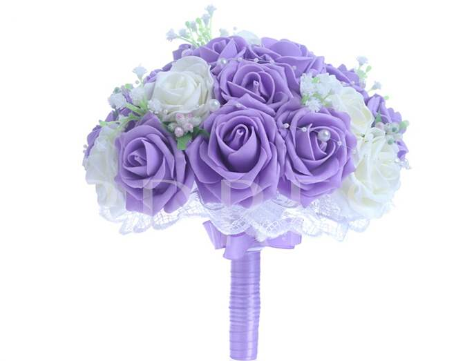 Best Lace Pearl White/Purple Rose Starry Sky Wedding Bouquet