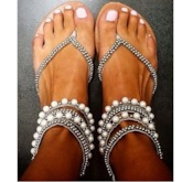 Rhinestone Fancy Thong Sandals Women's Wedding Shoes