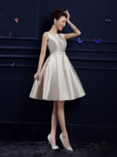 Knee-Length Lace-Up Matte Satin Bridesmaid Dress
