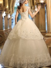 Appliques Beading Sequins Ball Gown Wedding Dress
