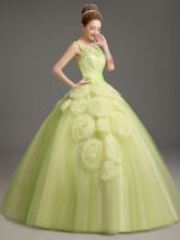 Straps Ball Gown Flowers Floor-Length Quinceanera Dress