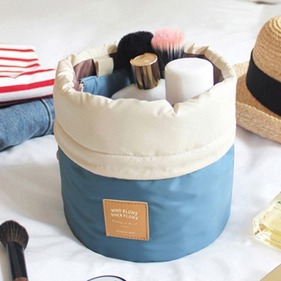 Solid Color Cylindrical Shaped Women's Cosmetic Bag