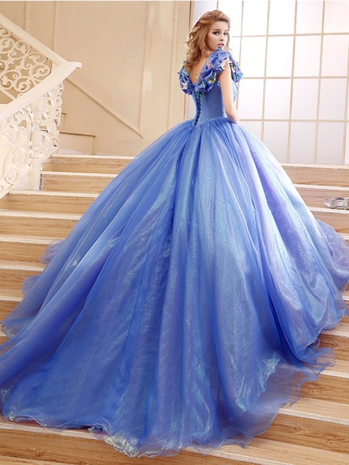 Cap Sleeves Appliques Ball Gown Cinderella Quinceanera Dress