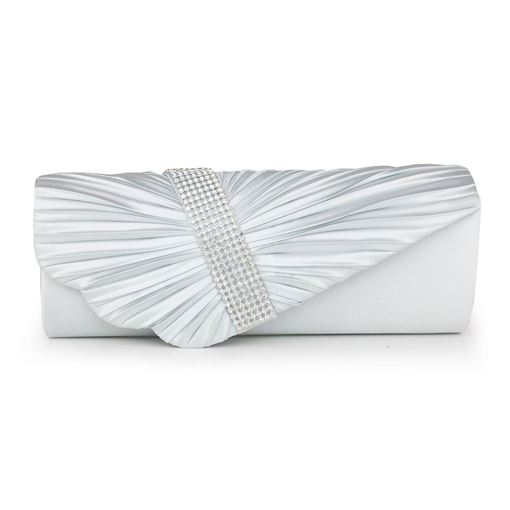 Rhinestone Pleated Agraffe Women's Clutch