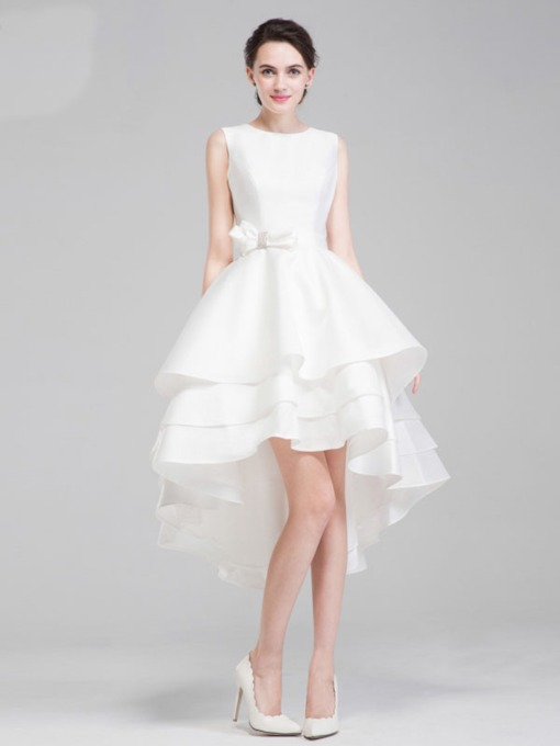 Asymmetry Short Tiered V-Back A-Line Wedding Dress