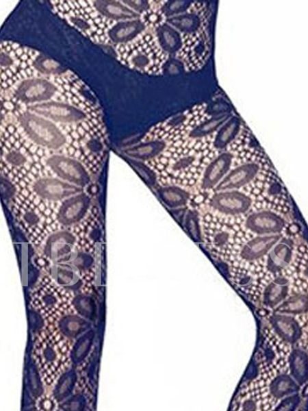 Flower Hollow Voile Women's Stocking