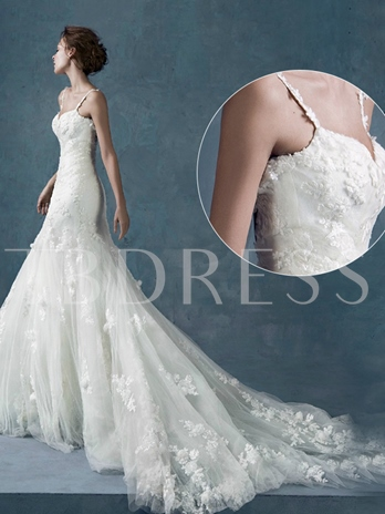 Court Trumpet/Mermaid Spaghetti Straps Tulle Lace Wedding Dress