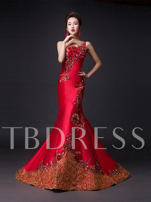 Mermaid One-Shoulder Flowers Embroidery Court Train Evening Dress
