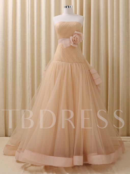 Strapless Ball Gown Flowers Bowknot Court Train Quinceanera Dress