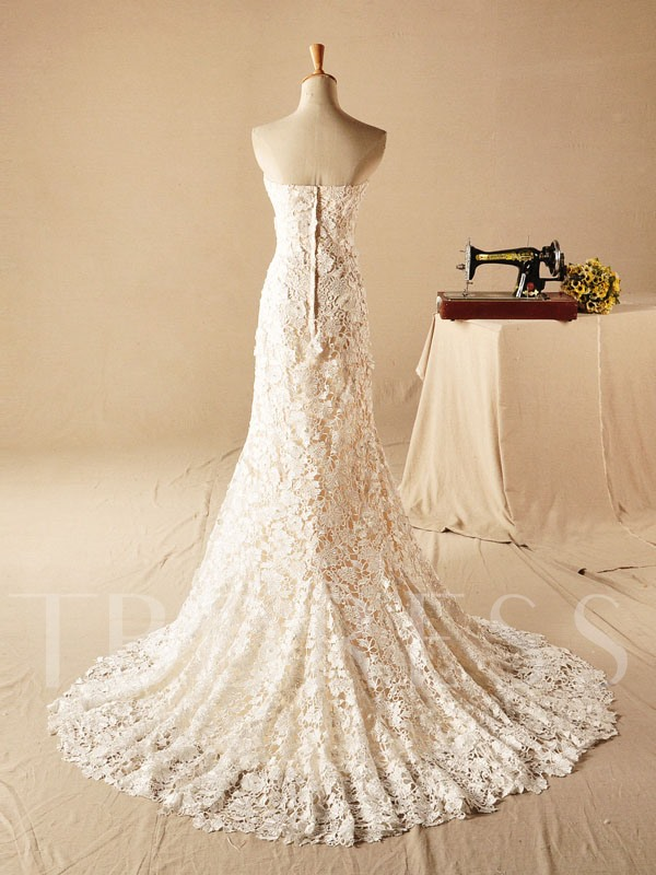 Court Train Pearls Mermaid Lace Wedding Dress