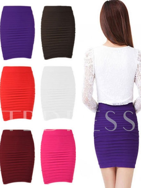 Candy Color Pleated Women's Skirt