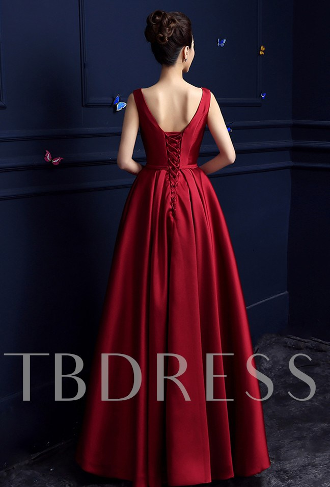 Lace-Up A-Line Floor-Length Matte Satin Mother of the Bride Dress