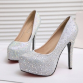 Rhinestone Round Toe Stiletto Heel Slip-On Wedding Shoes