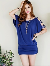 Plain Short Sleeve Batwing Sleeve Women's Day Dress