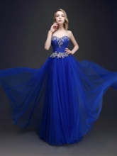 Sweetheart Neckline A-Line Beadings Floor-Length Prom Dress