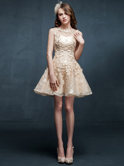 High Quality Flowers Appliques Short/Mini Bridesmaid Dress