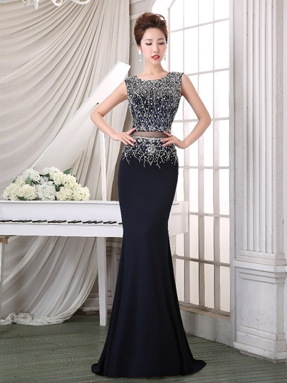 Mermaid Round Neck Beading Sleeveless Sweep Train Evening Dress
