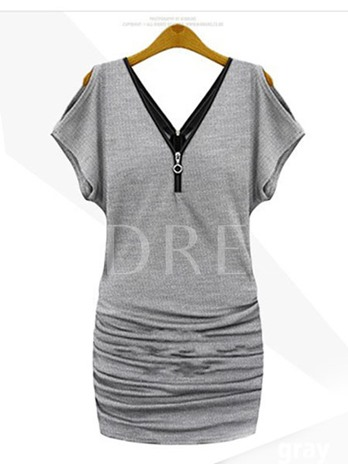 Plain V-Neck Batwing Sleeve Women's Day Dress (Plus Size Available)