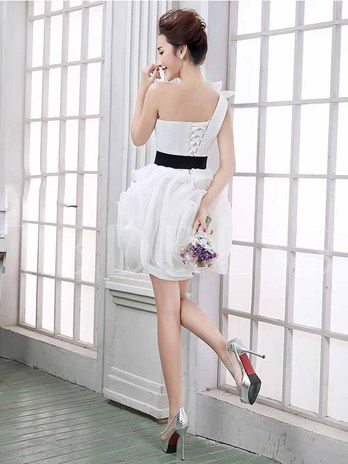 Multi-Color One Shoulder Sash Short/Mini Bridesmaid Dress