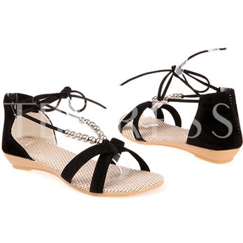Beading Lace-up Women's Flat Sandals (Plus Size Available)