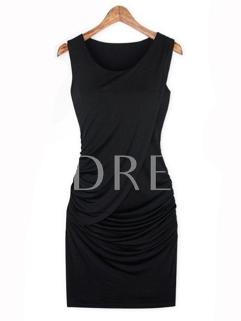 Solid Color Tiered Sleeveless Women's Sheath Dress