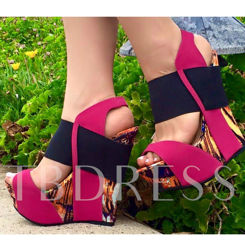Contrast Color Peep Toe Wedge Heel Women's Sandals (Plus Size Available)