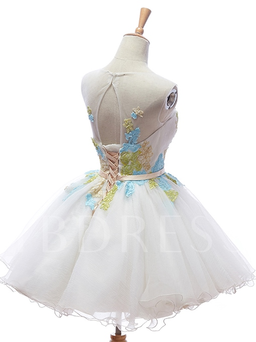 Colorful Appliques Short/Mini Homecoming/Sweet 16 Dress