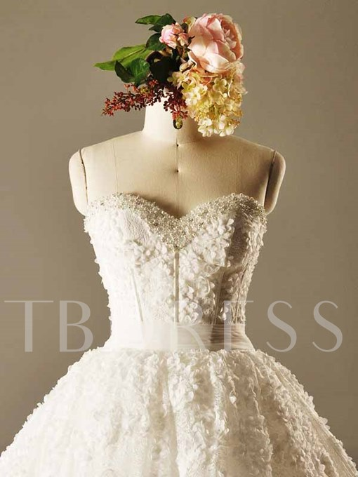 Appliques Lace Pearls Ball Gown Wedding Dress