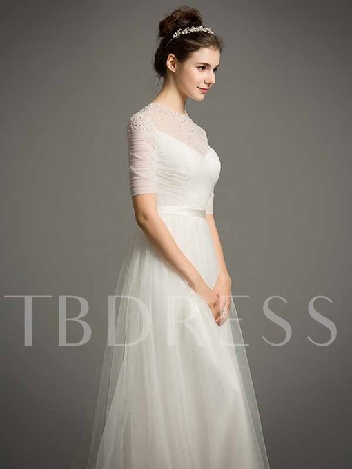Elegant Tulle Short Sleeves A-Line Pearls Beading Wedding Dress
