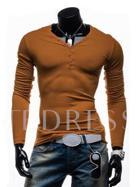V-Neck Solid Color Button Decorated Long Sleeve Men's Fashion T-shirt