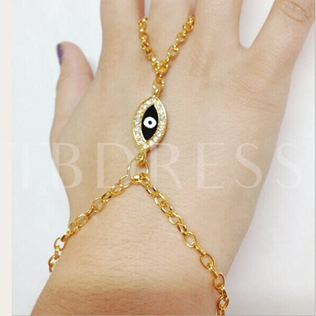 Golden Rhinestone Decorated Devil Eye Women's Bracelet