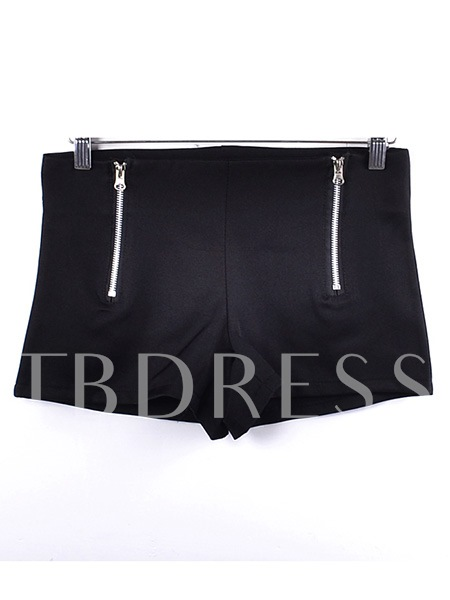 Solid Color Zipper Women's Shorts