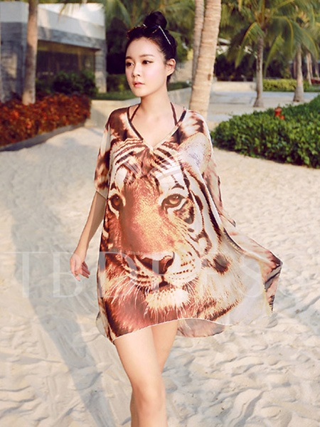 Tiger Print V-neck Chiffon Women's Swimwear Cover-up
