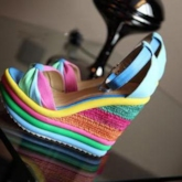 Assorted Color Ankle Strap Women's Wedges Sandals
