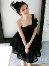 One Shoulder Bowknot Black Short Bridesmaid Dress