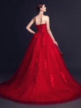 Lace Appliques Flowers Red Wedding Dress