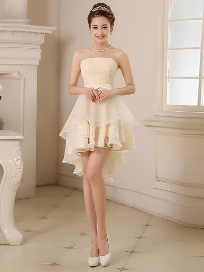 A-Line Strapless Asymmetric Homecoming Dress