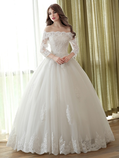 Off-The-Shoulder Ball Gown 3/4 Length Sleeves Lace Wedding Dress