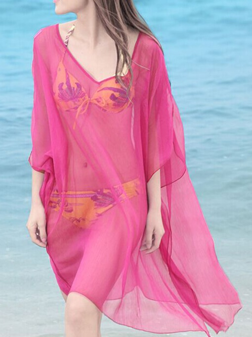 Solid Color Mesh Chiffon Beach Women's Cover Up