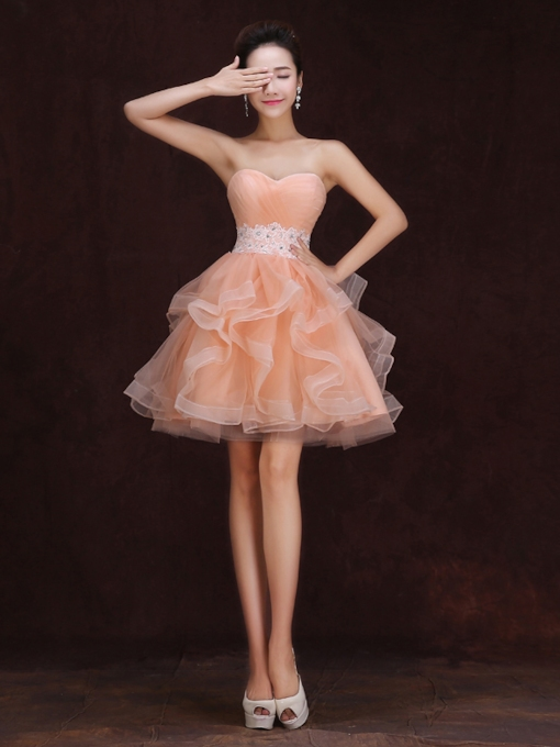 A-line Sweetheart Ruffles Appliques Mini Homecoming Dress