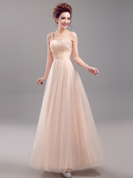 One Shoulder Beading Flowers Bridesmaid Dress